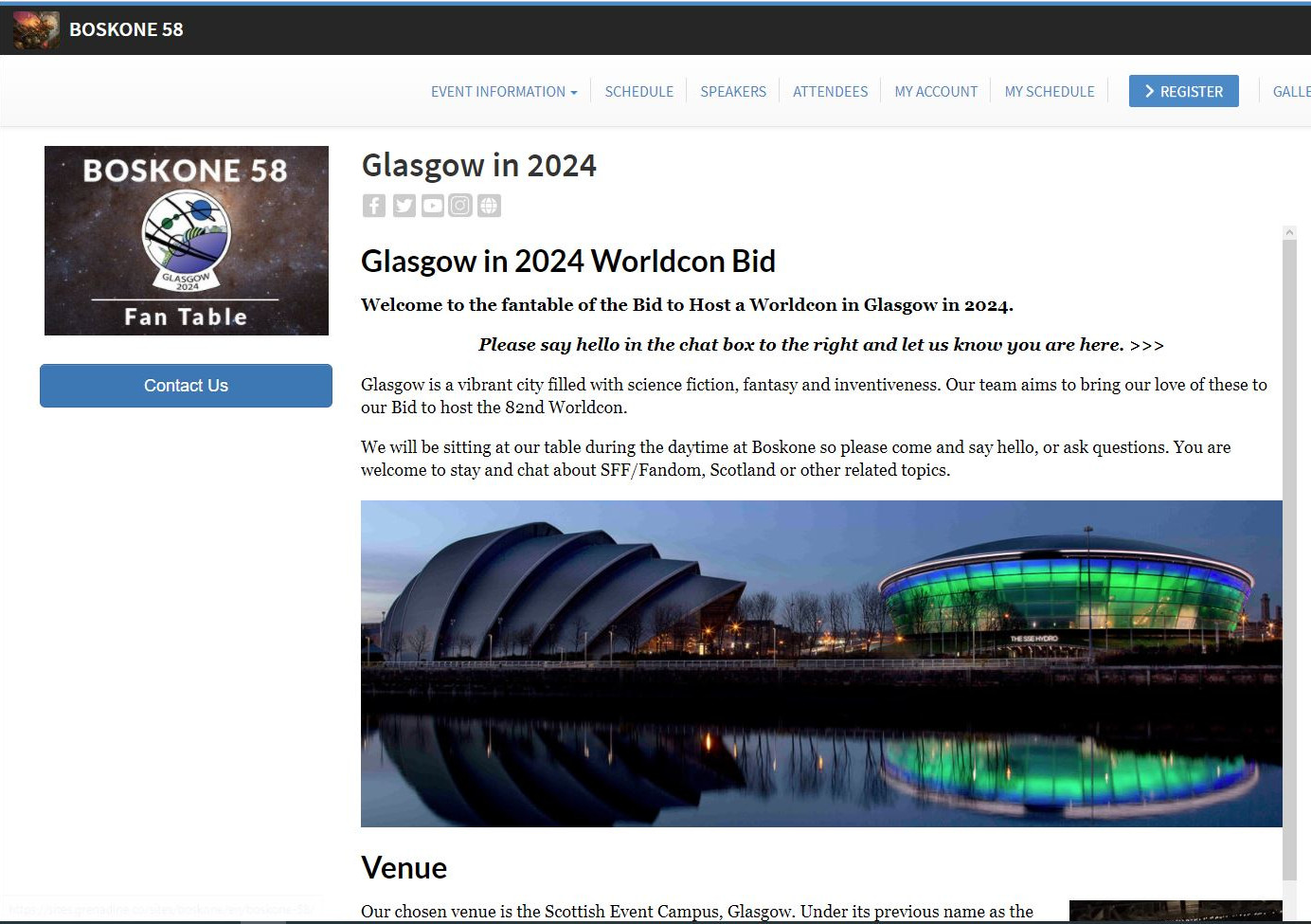 Screenshot from website. On the lefthand side there is Boskone 58 inscription and logo. To the right there is text about Glasgow in 2024 Worldcon Bid and a picture of two building by the river. The first looks like armadillo and the other is round.