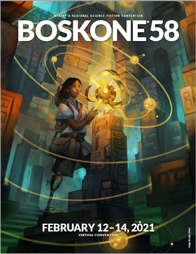 Book cover with the big inscription 'Boskone 58' on top and smaller 'February 12-14, 2021' at the bottom. Picture on the cover shows a girl grabbing a shiny object from a postument.