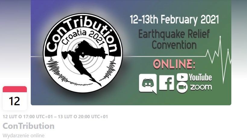 Screenshot of an event header from Facebook. To the left there is a map of Croatia on the earthquake related graphic. To the right there are some details about the Contribution including the text 'Earthquake Relief Convention'.