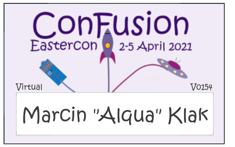 Badge has pink background. It features the folloiwng text 'ConFusion Eastercon 2-5 April 2021'. Below is the name field. Graphic is simple and shows police box, rocket, and flying saucer flying away from the name box.