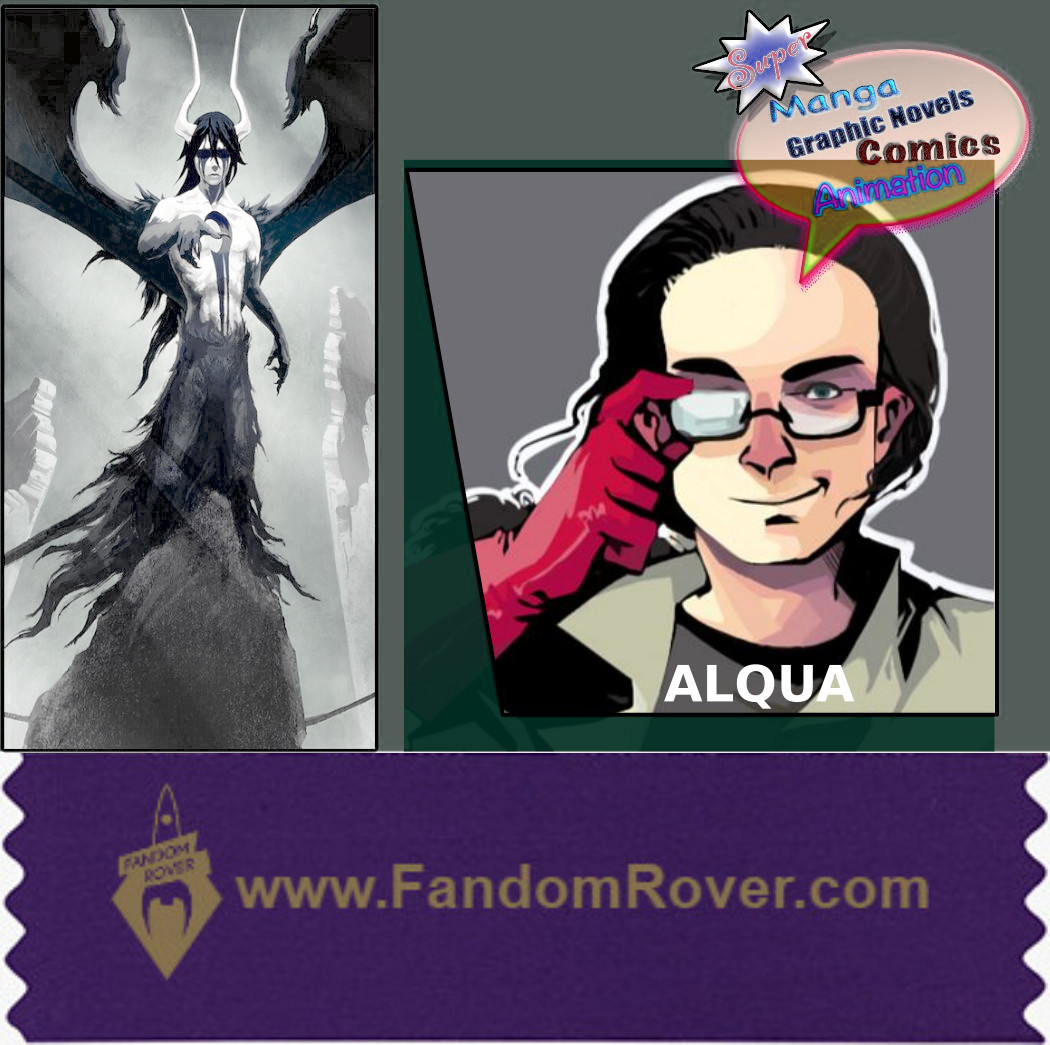 Convention badge with one ribbon below it. Left of the badge shows a black and white character in manga style. To the right there is a drawing of a man with glasses and long hair. The ribbon states 'www.FandomRover.com'.