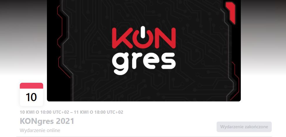Header of Facebook event. It is mainly black with red and white inscription 'KONgres'. The 'O' in the inscription is a power icon.