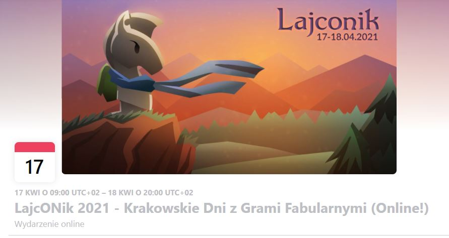 Header of Facebook event. It depicts chess knight wearing a scarf and a backpack. It stands on the mountain. Top right corner contains the name 'Lajconik' and a date '17-18.04.2021'.