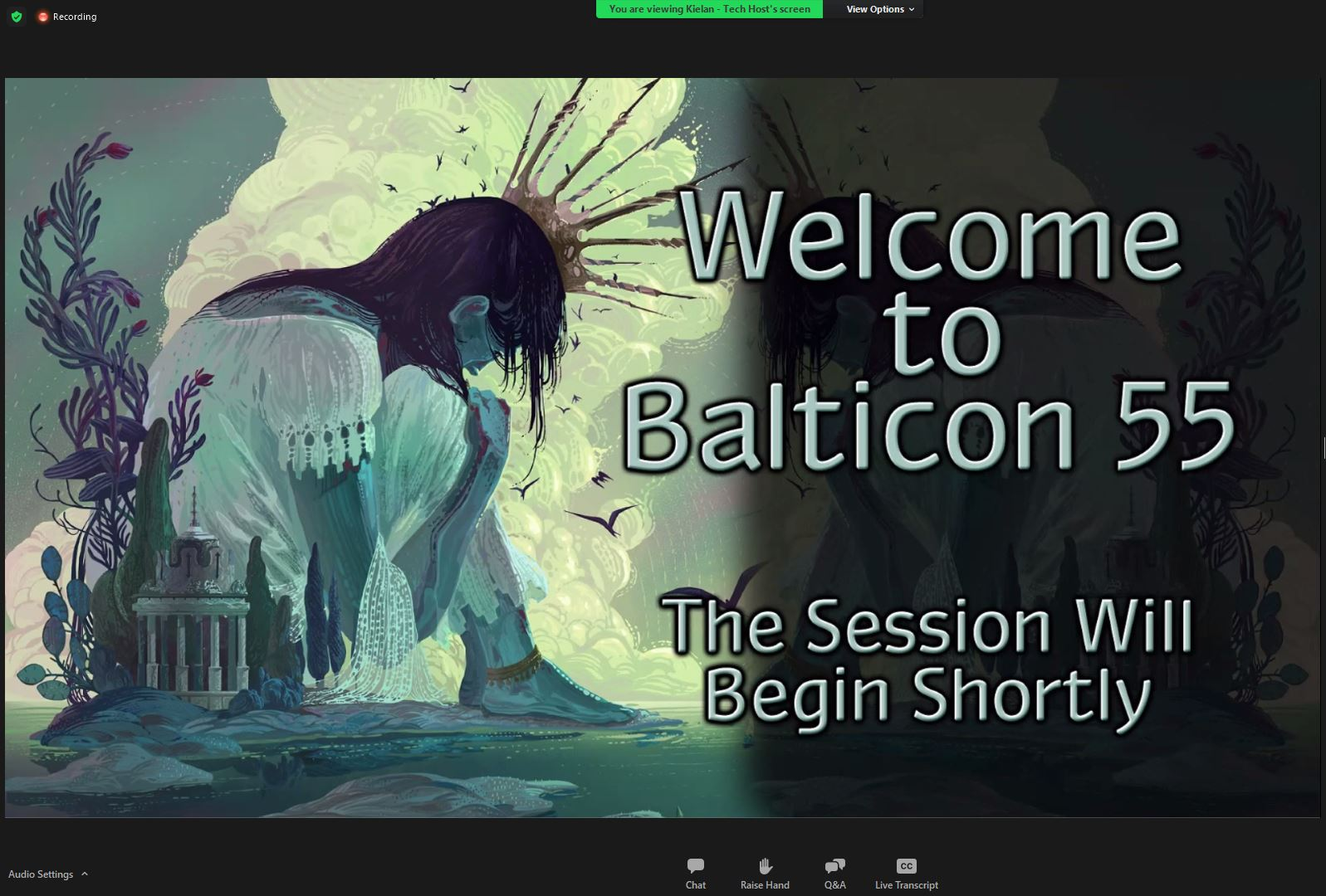 Picture features a person sitting on a very small island. Next to the person there is a small building and some trees. To the right there is an inscription 'Welcome to Balticon 55 The Session Will begin Shortly'.