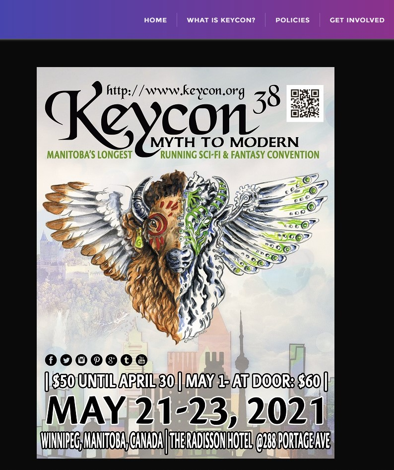 Screenshot from website. It shows menu header and below is a big poster. In the middle of the poster there is a picture of winged animal similar to bull/bison. It is surrounded by the information about Keycon 38.