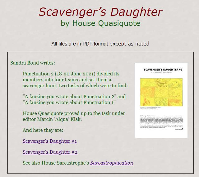 Screenshot from teh website. It reads 'Scavenger's Daughter by House Quasiquote'. Below is the information about fanzine and miniature of one of the issues.