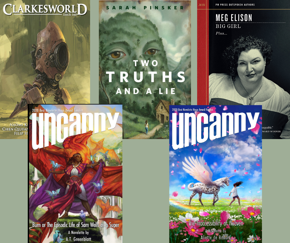 Collage of the five covers of the stories presented in the text.