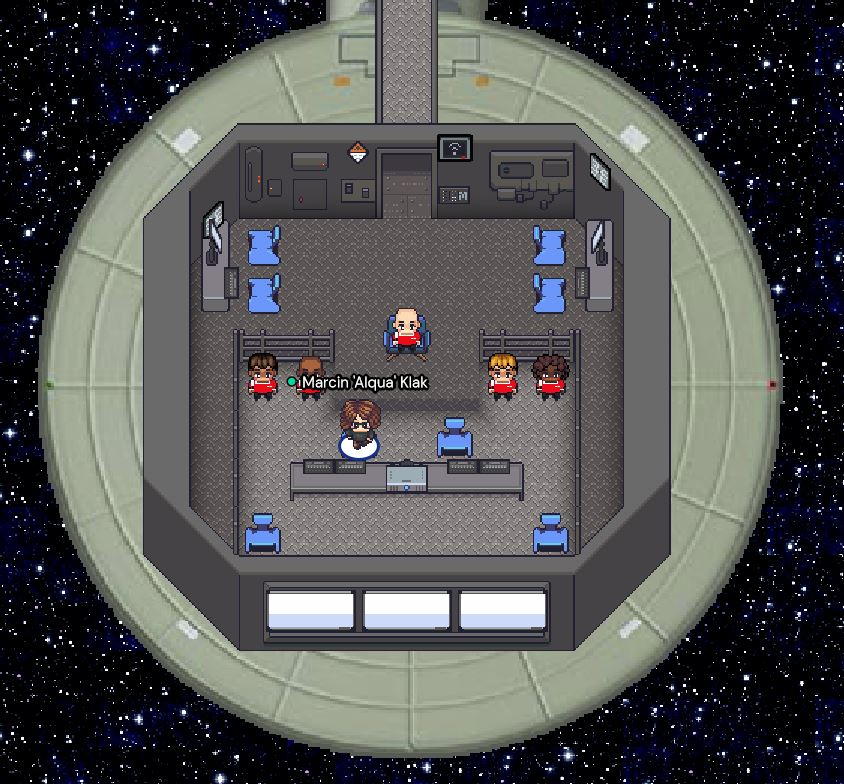 Bridge on a spaceship in 8bit style. There are 6 characters inside.